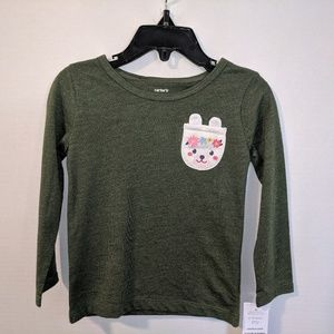 Carter's long sleeve army green shirt w/ bunny 2t